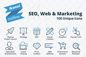 ikooni outline: SEO, Web & Marketing