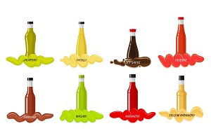 Set of Glass Bottles with Hot Sauces Flat Vector