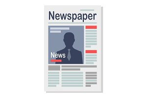 Paper Newspaper Isolated Illustration on White