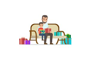 Father and Son Share Gifts. Christmas Illustration