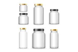Realistic Empty Glass Jar Can Set