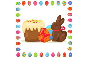 Tasty Easter Treats Illustration in Eggs Frame