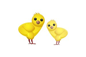 Cute Easter Spring Chickens Isolated Illustration