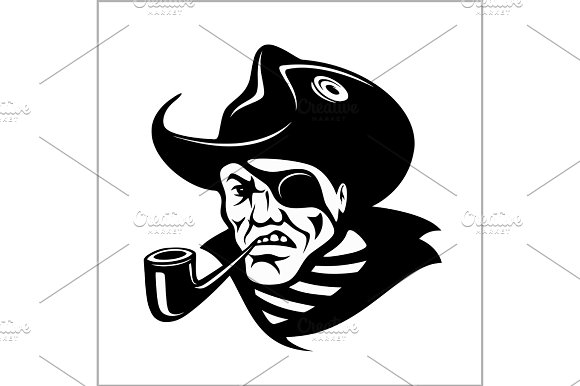 Angry Pirate With Pipe Portrait Vector Pirate Illustration