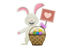 Cartoon Easter Bunny with Basket Illustration