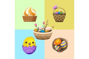 Easter Concept with Holiday Attributes Vector