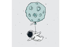 Baby-spaceman fly with moon like a balloon