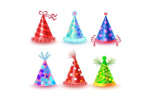 Decorated Colorful Party Hats Vector Icons Set