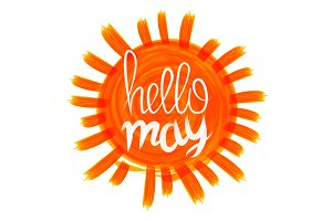 hello may vector orange sun
