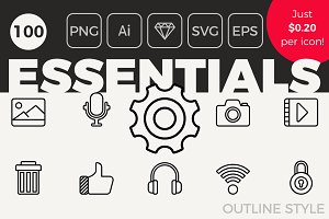 100 Essential Icons - Outline Style