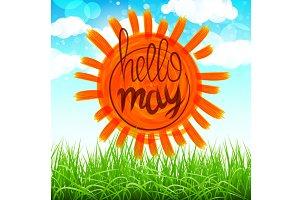 vector hello may green may. blue sky