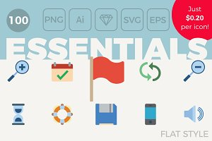 100 Essential Icons - Flat Style