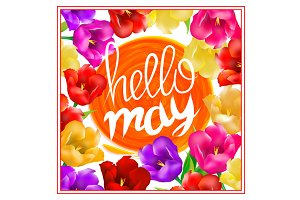 Hello may hand Lettering tulip