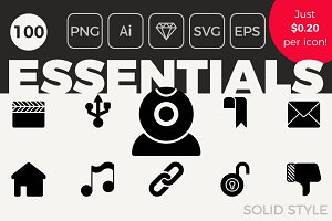 100 Essential Icons - Solid Style