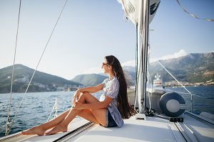 sexy woman yachting in Montenegro