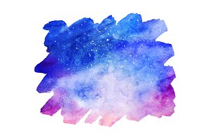 Watercolor space galaxy spot vector