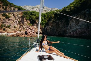 sexy woman yachting