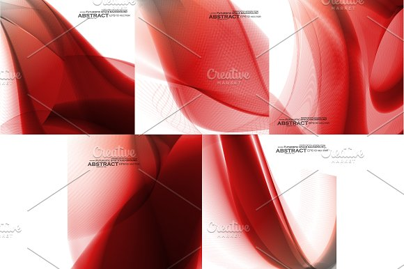 Set Of Abstract Red Backgrounds