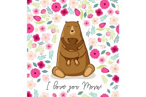 Cute cartoon bear with its baby, Mother's day card