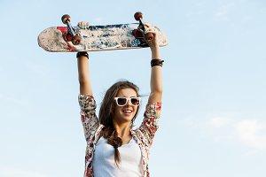 caucasian skater woman