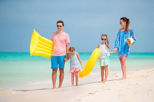 Young family of four on vacation