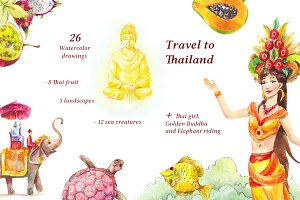 Set of 26 Thai watercolors