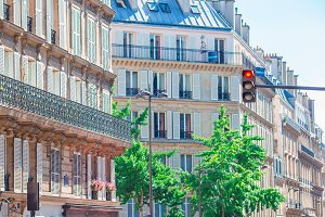 Beautiful european streets and houses view in Paris, France