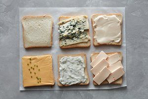 Set of different cheeses on toasts