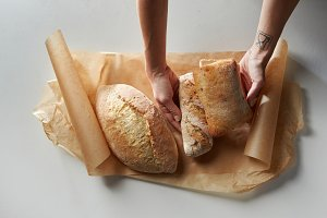 Fresh bread on baking paper