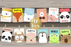 12 cute lovely design animal cards3#