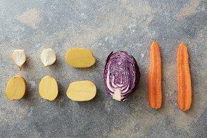 Vegetables on background