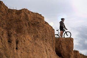 Man with mountain bike