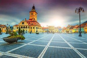 Famous city center in Brasov