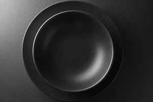 black plate on a  background