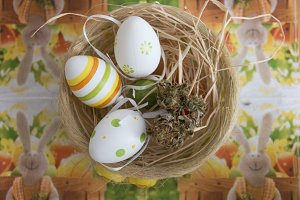 Easter Cannabis Basket. Top view