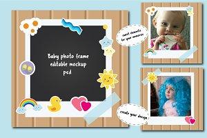 Baby photo frame editable mockup psd