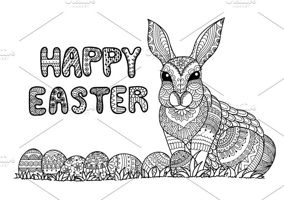 Happy Easter Coloring Page Graphic Objects Creative Market
