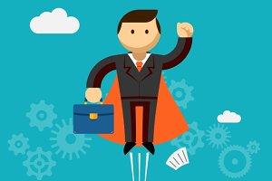 Flying Super Businessman