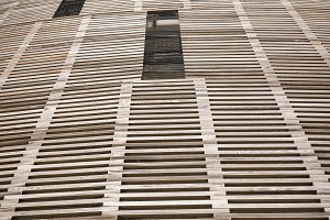 Wood facade of modern building in Barcelona