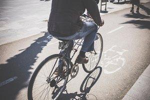 Cyclist riding a bike lane