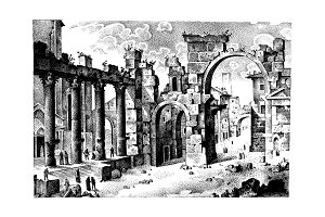 old hand drawn landscape, ancient castle or town engraved in old dot work style, graphic or sketch ink. italian or spain hills in ruins