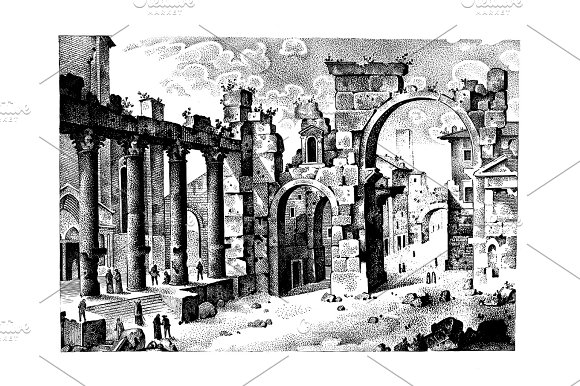 Old Hand Drawn Landscape Ancient Castle Or Town Engraved In Old Dot Work Style Graphic Or Sketch Ink Italian Or Spain Hills In Ruins