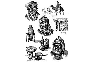 orient collection, middle east - hand drawn set of vases, plates camel and arabic men and woman faces, egraved illustration
