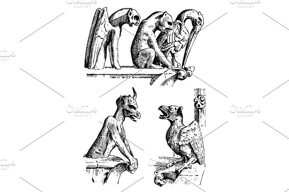Set Of Gargoyles Chimera Of Notre-Dame De Paris Engraved Hand Drawn Vector Illustration With Gothic Guardians Include Architectual Elements Vintage Statue Medieval