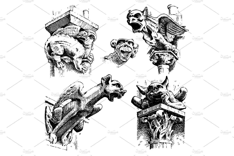 set of Gargoyles Chimera of Notre-Dame de Paris, engraved