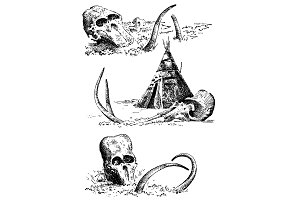 Stone age vector Caveman or troglodyte illustration, mammoth skeleton and skull. prehistoric aged hand drawn or engraved illustration, ancient period concept