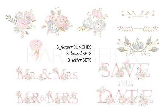 Wedding Alphabet Clipart Illustrations Creative Market