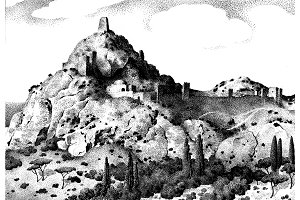 Sudak, Crimea , Russia old hand drawn landscape, ancient castle or town engraved in old dot work style, graphic or sketch ink. italian or spain hills
