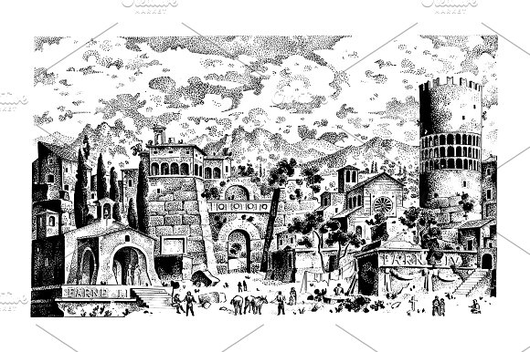 Old Hand Drawn Landscape Ancient Castle Or Town Engraved In Old Dot Work Style Graphic Or Sketch Ink Italian Or Spain Hills Medieval