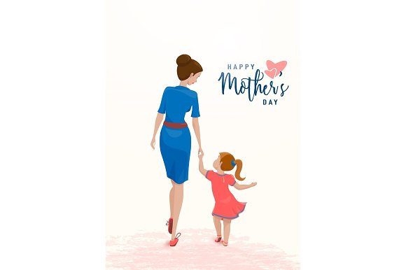 Vector Illustration Of Greeting Mother Day Mom Holds Her Daughter By The Hand